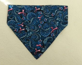 Fight for a Cure! BCA Breast Cancer Awareness! Country Blue Paisley Bandana. Great for Dog, Cat & Ferret. Reversible 2 in 1 Over the Collar.
