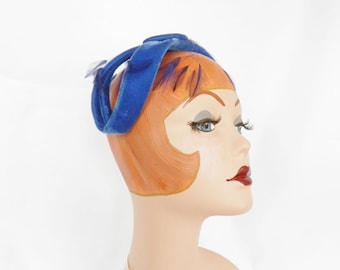 Vintage 1960s hat, royal blue headband bow with feathers