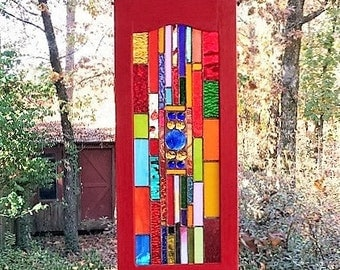 Sparkling stained glass panel suncather gift art glass window treatment glass art