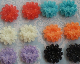 20pcs Daisy Flower with Butterfly Assorted Colours Cabochon - Australia