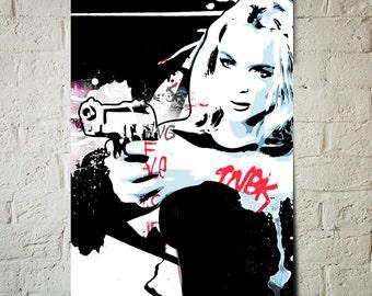 FEMME FATALE, street art, graphic novel style portrait illustration, Poster size, art print available in multiple sizes.