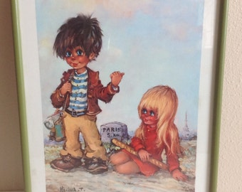 Michel T Framed Print Big Eyed Boy Girl