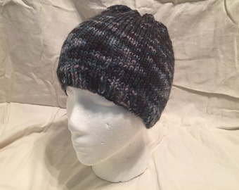 Hand Knitted Hand Dyed Shades Of Black Wool Hat