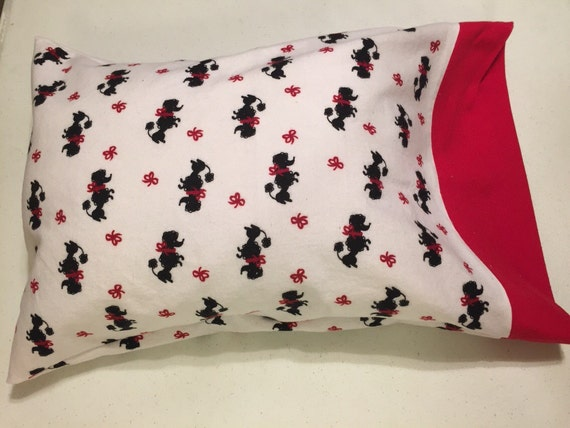 Cute scotty dog flannel travel pillow case/toddler pillow case