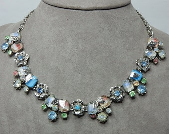 Colorful Pastel GIVRE Glass & Rhinestone Choker Necklace