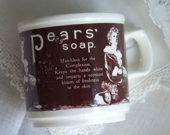 Pears Soap Mug. Made in Ireland. Chocolate Brown. Iconic English Soap.
