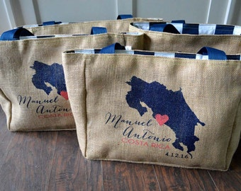 Costa Rica Country Outline - Add Your City - Custom Wedding Tote Bags - Handmade Wedding Favors or Bridesmaids Gifts