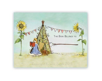 Garden Teepee Bookplate Set of 12 - Customizable