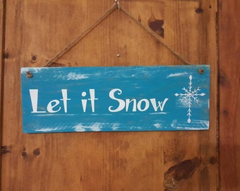 Discounted Christmas Item!! 30% off! Let it snow reclaimed wood sign