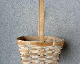 Whitewashed Basket Flower Girl Basket Cottage  Chic Home Decor