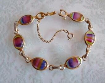 Signed Sarah Coventry Rainbow Glass Cabochons Bracelet ~ Harmony Design
