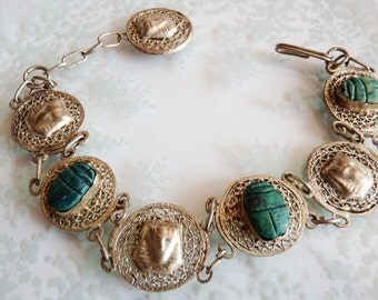 Vintage Bracelet ~ Egyptian Revival with Pharaohs and Scarabs