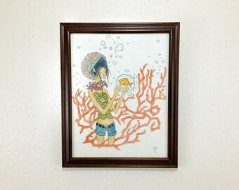 Gold fish / Seashell Art // ORIGINAL FRAMED 11 x 14 in. | hipster girl beach watercolor