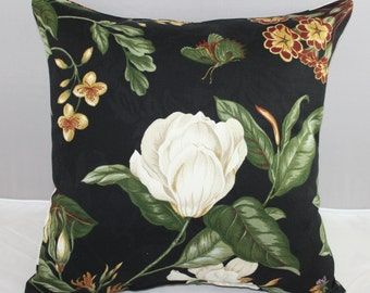 """Pillow  Waverly Floral Black Williamsburg Garden Images  16""""x16"""" with Zipper"""