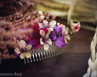 Purple and pink Flower Leaves Vegetal Hair Comb lolita bridal romantic