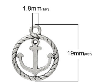 5 or 10 or 20 pcs. Antique Silver Anchor with Rope and Circle Frame Charm Pendants - 19mm X 16mm