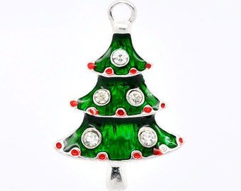 2 or 10 pcs. Silver Plated Christmas Trees Tree Light Lights Charms Pendants - 26x17mm - with Rhinestones