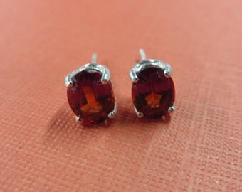 Garnet Earrings - Hessonite Garnet Post Earrings - Garnet & Sterling Silver Post Earrings