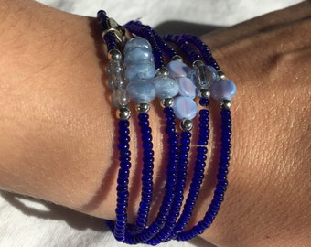 Blue Cobalt Beaded Bracelet, Periwinkle Beaded Bracelet, Blue Cobalt Seed Bead Bracelet, Silver Charm Bracelet, Beaded Bracelet, Bracelet