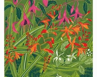 KERRY HEDGEROW lino print lino cut fuchsia crocosmia ireland hedgerow
