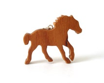 Horse Necklace Wood Pony Western Jewelry Hand Cut Country Pendant Scroll Saw Cherry