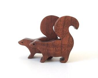 Toy Skunk Pair Waldorf  Miniature Wooden Noah's Ark Animals Zoo Woodland Play Set Hand Cut Scroll Saw