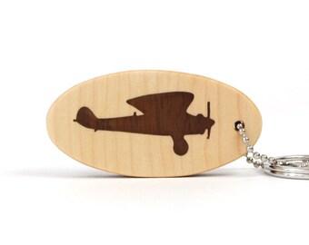 Lindbergh Spirit of St. Louis Biplane Key Chain Wood Airplane Key Ring Historic Airplane Key Fob Walnut