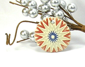 Ceramic Pendant, Stoneware Pendant - Red, White and Blue Starburst Sun Pendant (OOAK Focal Pendant, Keychain, Ceramic Gift Tag, Necklace)