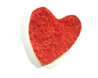 Ceramic Spoon Rest / Trinket Dish - Broken Heart in Bright Red, Heart Plate (OOAK Ceramic Spoot Rest, Small Plate, Ring Holder)