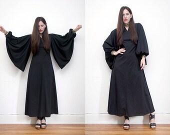 Vintage Black Cape Boho Grecian Kaftan Dress Angel Wing Maxi Dress