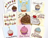 Greeting Cards Set, Fun Cards, Birthday Cards, Blank Cards, Thank You Card, New Baby Card, Friend Birthday Card, Cupcake Card, Illustration