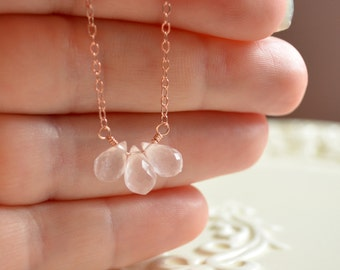 Blush Pink Necklace, Rose Quartz Jewelry, Rose Gold Filled, Pale Gemstone Teardrop Trio, Wire Wrapped, Free Shipping