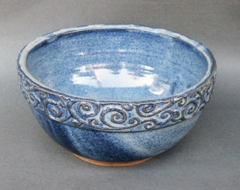 Salad Serving Bowl Swirl Texture in Cobalt Blue Handmade Pottery