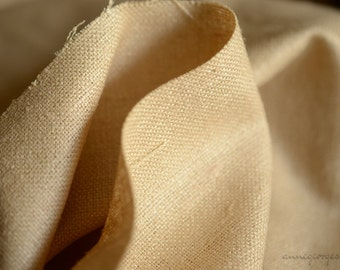 "Wild Silk Fabric. Perfect for winter jacket, pencil skirt, sheath dress. Peace Silk Fabric. Unbleached natural deep beige color. 250gsm 54""."