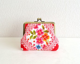 Christmas sale! Retro floral coin purse - red, frame purse, clasp purse