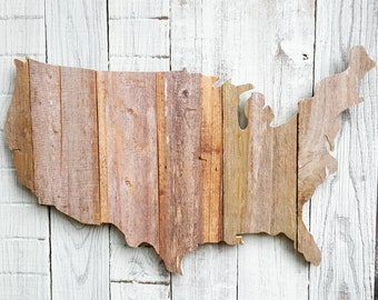 USA  US wall art, made of recycled fence wood.  Upcycled outdoor art