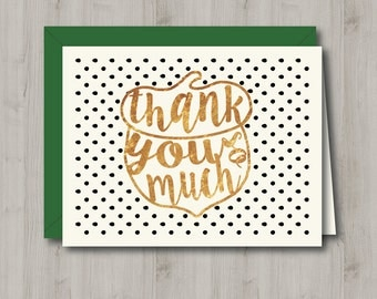 Printable Thank You Card - Faux Gold Foil Thank You Acorn - INSTANT DOWNLOAD
