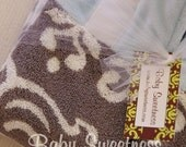 Hooded Towel with monogram for Baby or Toddler  Damask Blue Grey Gray Limited Edition IN STOCK