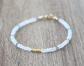 Mixed Moonstone Apatite and Labradorite Gold Nugget Bracelet / Stackable Gemstone Bracelet