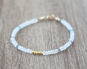 Mixed Moonstone Apatite and Labradorite Gold Nugget Bracelet / Stackable Gemstone Bracelet