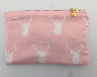Pink and Off White reindeer Print  Small Zipper Pouch with Crown Charm, Cosmetic Bag, Gadget Bag with Heart Warming Quote Inside