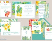 Hawaii/Tropical Botanica/Floral Watercolor Wedding Invitations/Save the Dates
