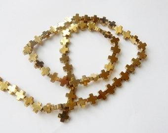 6.3mm Gold plated hematite  cross Beads, gold hematite cross beads, cross spacer