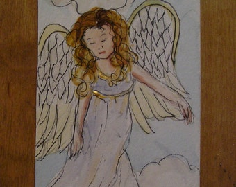 Original ACEO Angel Painting  Guardian Angel in the Sky Watching Over Artist Trading Card