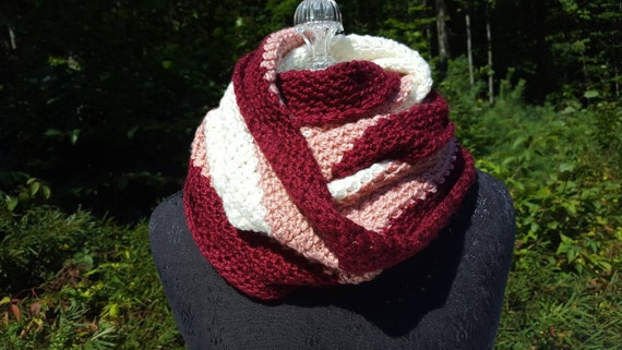 Crocheted burgundy, rose and cream eversoft infinity wrap-READY TO SHIP