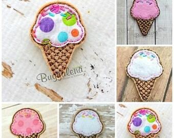 ON SALE Ice Cream Cone Feltie / Clippie Machine Embroidery Design