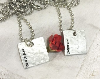 Couples matching necklaces, hand stamped taken, couples jewelry,  couples gift, groom, bride, boyfriend, girlfriend, partners