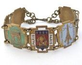 Vintage brass and enamel Paris souvenir panel bracelet