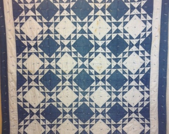"Vintage Tied Turn of the Century Blue and White Birds in the Air Tied Quilt, 70"" x 79"""