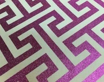 Metallic Magenta Geometric fabric by the yard